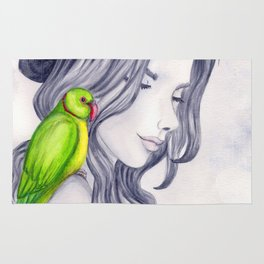 the green parrot Rug