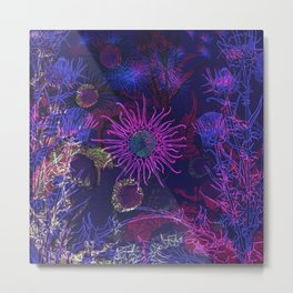 Milk Thistle Pattern in Brilliant Blues and Purples Metal Print
