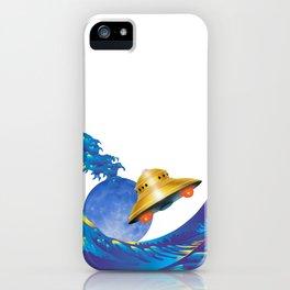 Hokusai Rainbow, UFO & the Moon  iPhone Case