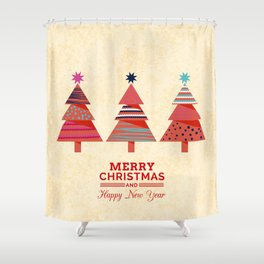Three Christmas Trees Shower Curtain