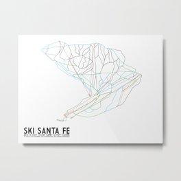 Ski Santa Fe, NM - Minimalist Trail Art Metal Print