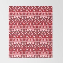 Doberman Pinscher fair isle christmas sweater cute dog breed gifts Throw Blanket
