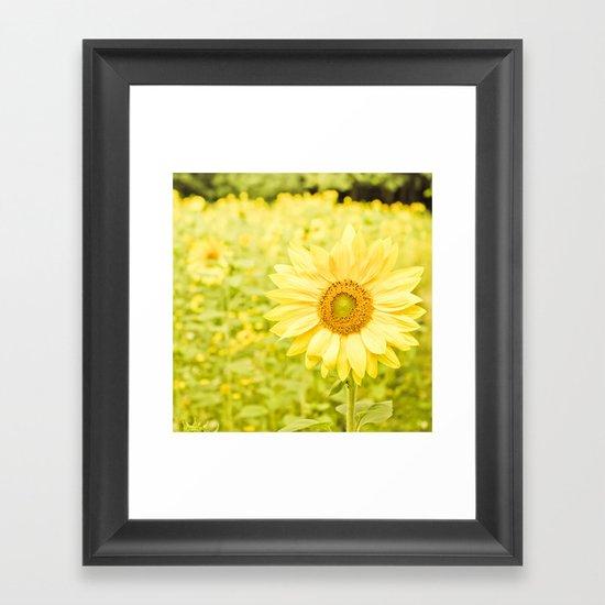Smiling sunflower Framed Art Print