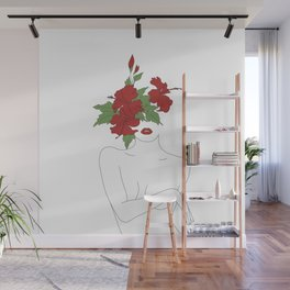 Minimal Line Art Woman with Hibiscus Wall Mural