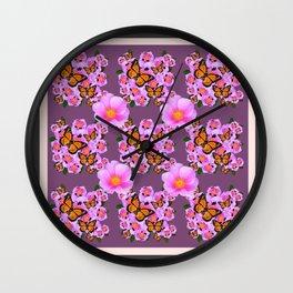 PINK ROSES MONARCH BUTTERFLIES  PUCE COLOR ART Wall Clock