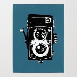Big Vintage Camera Love - Black on Teal Background Poster