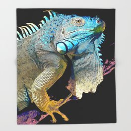Green Iguana Throw Blanket