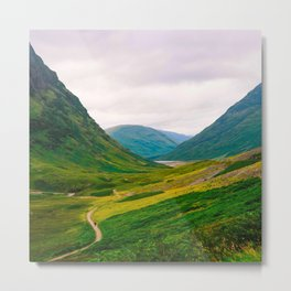 Beautiful Green Fields In A Mountain Valley Landscape Photography Metal Print