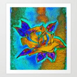 Blue and Orange Electric Rose Art Print