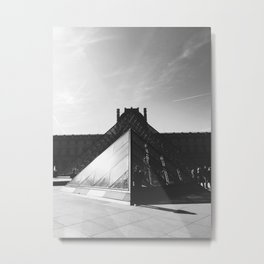 The Pyramid du Louvre in Black and White Metal Print