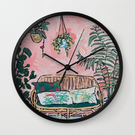 Rattan Bench in Painterly Pink Jungle Room Wall Clock