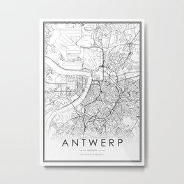 Antwerp City Map Belgium White and Black Metal Print