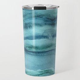 Watercolor Agate - Teal Blue Travel Mug