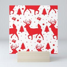 Deer pattern red Mini Art Print