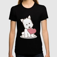 Westie Dog with Love Illustration Womens Fitted Tee LARGE Black