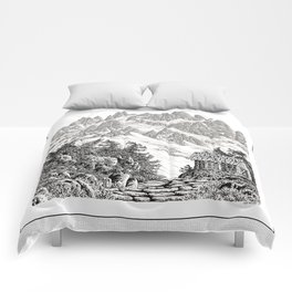 BEYOND MOUNT SHUKSAN BLACK AND WHITE VINTAGE PEN DRAWING Comforters