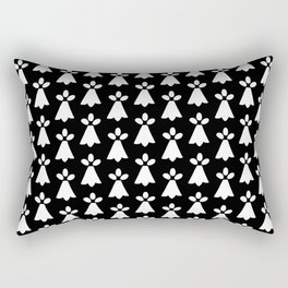 White and Black Ermine Spots Patterned Print Rectangular Pillow