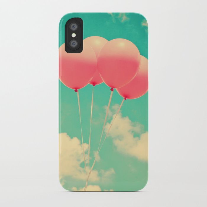 Balloons in the sky (pink ballons in retro blue sky) iPhone Case