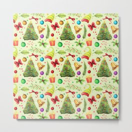 Vintage green red colorful festive Merry Christmas floral Metal Print