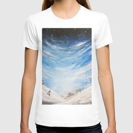 Snow scene - snowboarding on winter mountain T-shirt