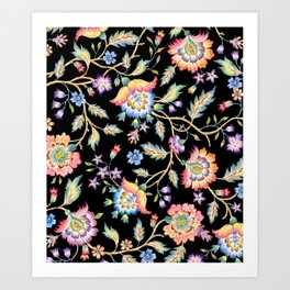 floral pattern black Art Print