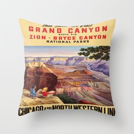 Vintage poster - Grand Canyon Throw Pillow