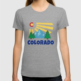 Native Colorado Gifts CO State Flag Sunrise Sunburst Mountains T-shirt