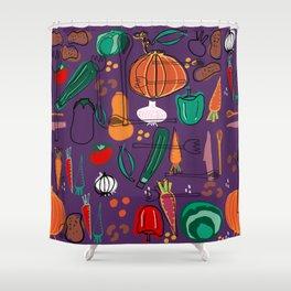 fall veggies purple Shower Curtain