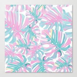 Pastel Pink Tropical Leaf Pattern Canvas Print