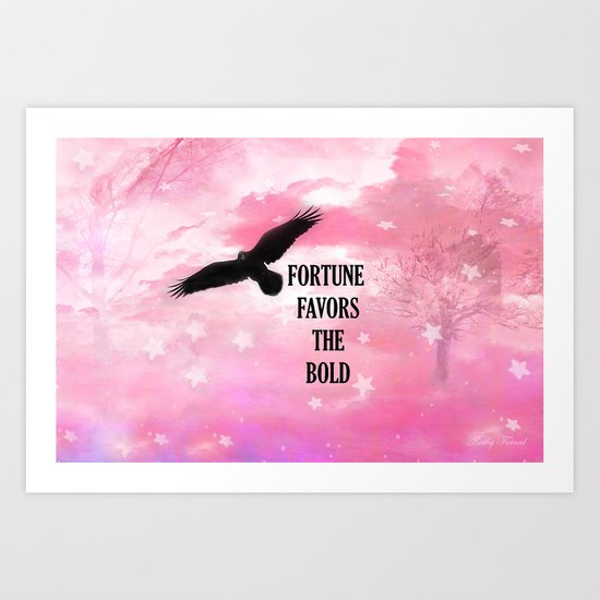 Surreal Fantasy Pink Nature Raven Typography Art Print