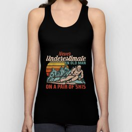 Mens Never Underestimate an Old Man on a Pair of Skies I Skiing graphic Unisex Tank Top