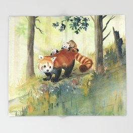 Red Panda Family Throw Blanket