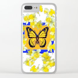 GOLDEN DAFFODILS YELLOW MONARCH FLORAL PATTERN Clear iPhone Case