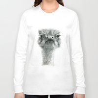 ostrich Long Sleeve T-shirts featuring Ostrich G119 by S-Schukina