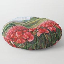 Italian Poppy Field Floor Pillow