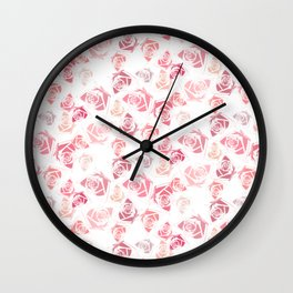 pink rose pattern Wall Clock