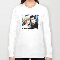 grease Long Sleeve T-shirts featuring Sandy and Danny from Grease - Painting Style by ElvisTR