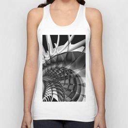 Architecture 101 fractal spiral structure, black, white Unisex Tank Top