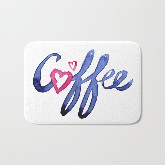 Coffee Lover Typography Bath Mat