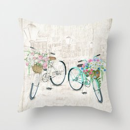 Vintage Bicycles With a City Background Throw Pillow