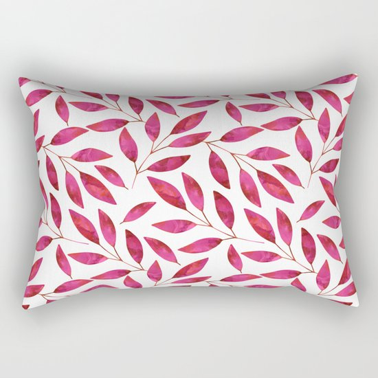 Watercolor Leaf allover Pattern pink red Rectangular Pillow