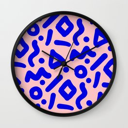 Doodle Pattern - Pink and Electric Blue Wall Clock