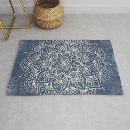 Boho Mandala, Flower, Navy Blue Rug