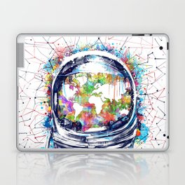 astronaut world map colorful Laptop & iPad Skin