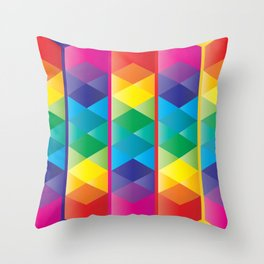 Rainbow Cube Throw Pillow