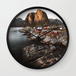 Fisherman Village, Lofoten Islands, Norway Wall Clock