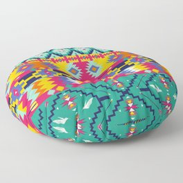 Seamless colorful aztec pattern with birds Floor Pillow