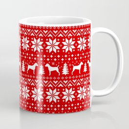 Parson Russell Terrier Silhouettes Christmas Sweater Pattern Coffee Mug