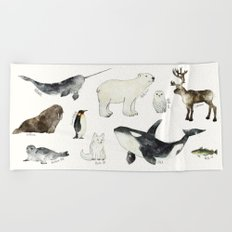 Arctic & Antarctic Animals Beach Towel