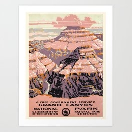 WPA vintage Travel poster - Grand Canyon - National Park Service Art Print